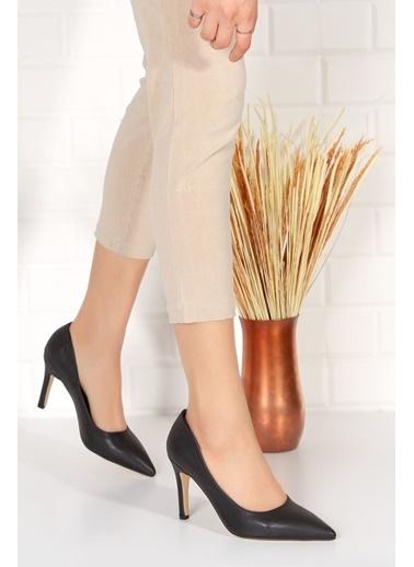 Derithy Elegante Topuklu Ayakkabı-Ten Suet-Byc2001 Siyah